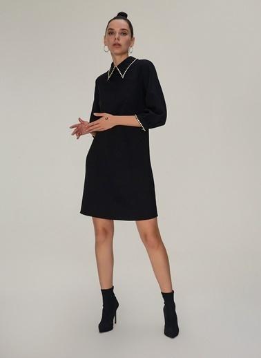 NGSTYLE Taş Detaylı Elbise Siyah